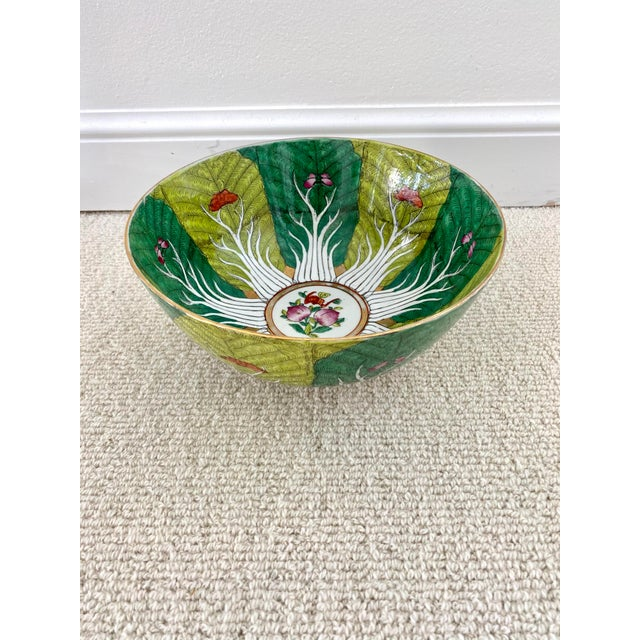 Japanese Vibrant Green Porcelain Bowl With Butterflies For Sale - Image 3 of 10