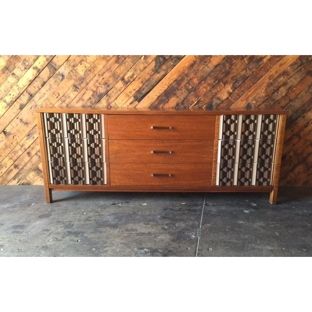 Mid Century Refinished Mahogany Brutalist 9 Drawer Dresser - Image 2 of 7