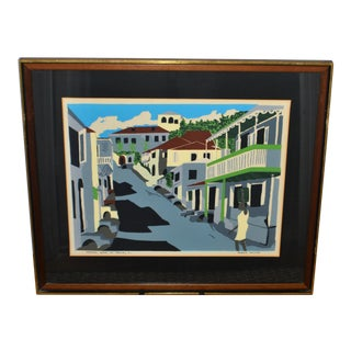 1960s Vintage Glenn Wilcox Crystal Gade St. Thomas, Vi. Framed Serigraph on Paper Print For Sale