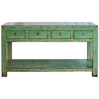 Asian Modern Green Console Table For Sale