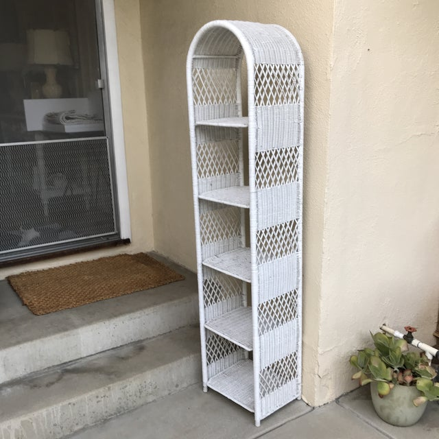 Classic White Wicker Shelf Etagere or Plant Stand For Sale - Image 9 of 10