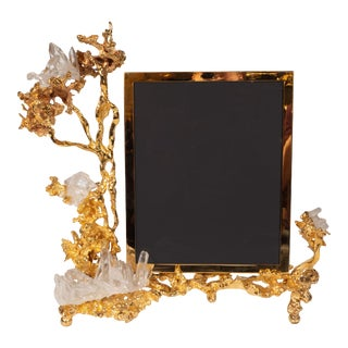 Claude Boeltz Exploded Bronze Picture Frame with 24kt Gold & Rock Crystal Details For Sale