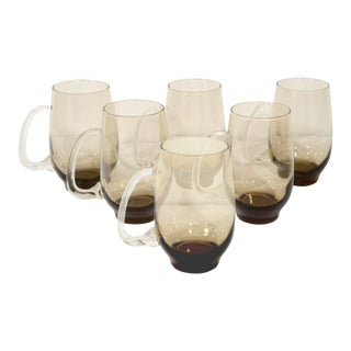 Set of Six Mid-Century Modern Smoked Glass Mugs For Sale