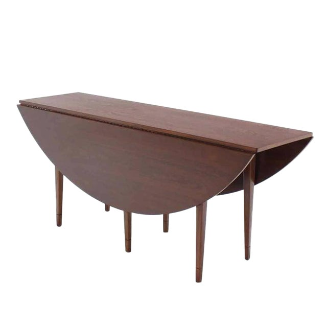 20th Century Danish Modern Drop Leaf Walnut Dining Table For Sale - Image 6 of 6