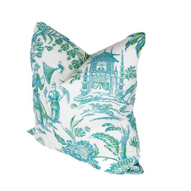 Custom Aqua & Lime Chinoiserie Toile Pillows - Image 2 of 3