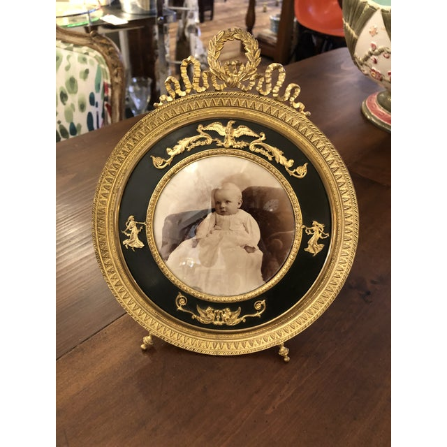 French Empire Antique Patinated Bronze Round Picture Frame For Sale - Image 10 of 10