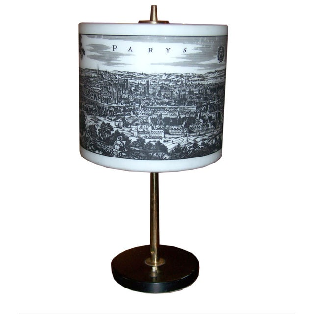 1950s French Table Lamp With Painted Glass Shade For Sale - Image 5 of 6