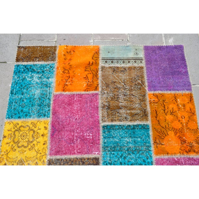 Turkish Handmade Patchwork Rug - 4′7″ × 5′9″ For Sale - Image 5 of 8