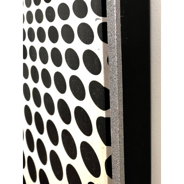 Black and White Op Art Painting in the Manner of Vasarely For Sale In Atlanta - Image 6 of 7