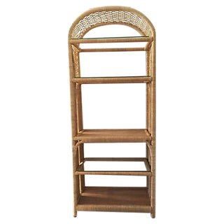 Boho Chic Rattan & Glass Etagere