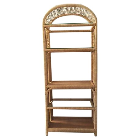 Boho chic rattan glass etagere chairish for Etagere campagne chic