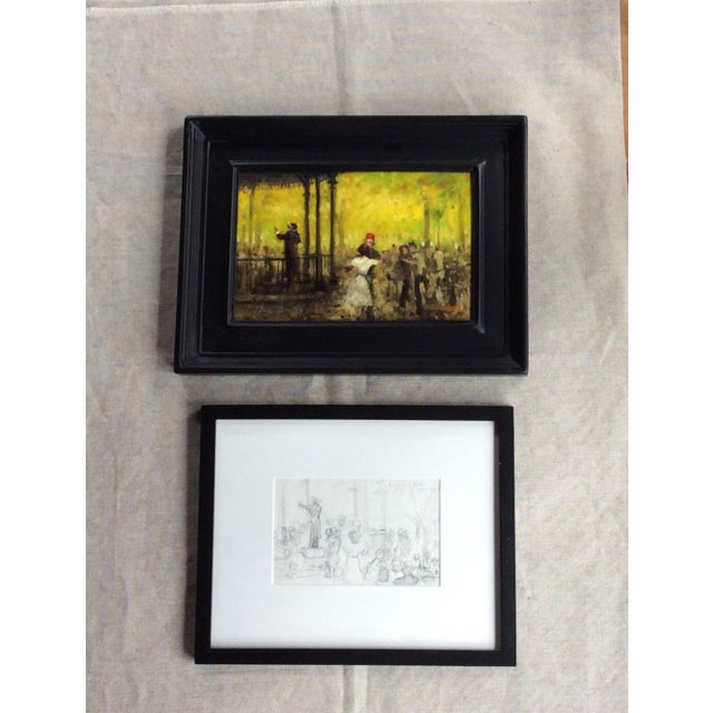 French Impressionist Style Oil Painting & Drawing - A Pair For Sale - Image 9 of 9