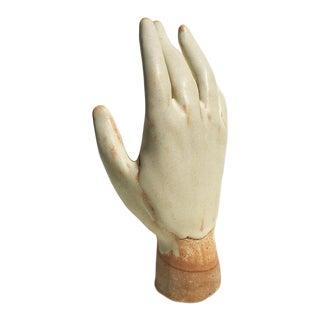 Hand in Matte Ivory Ceramic Stoneware Sculpture For Sale