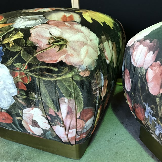 1990s Vintage Marge Carsen Brass Poufs- A Pair For Sale - Image 10 of 13