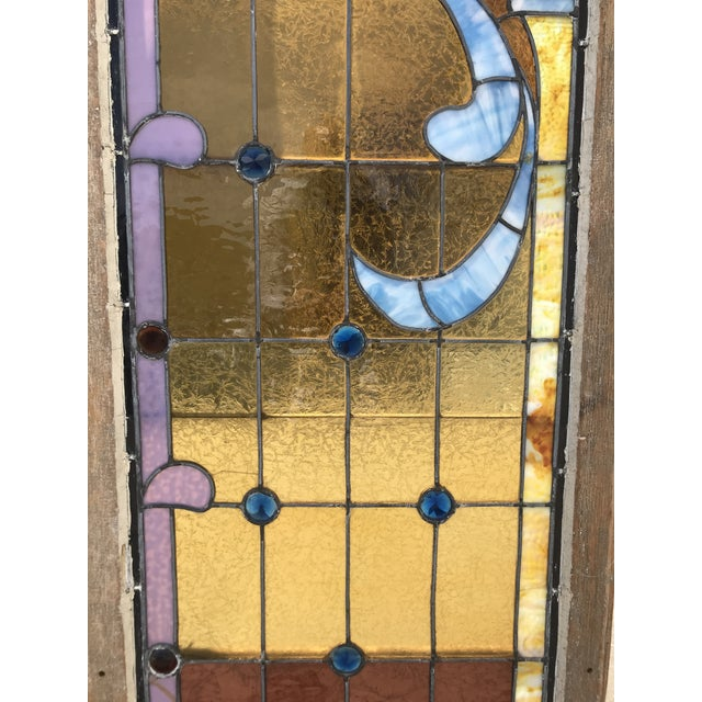 Antique Stained Glass Window, Circa 1900s For Sale - Image 9 of 12