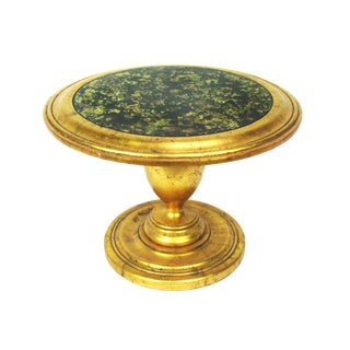 Hollywood Regency Gilt Table W/ Faux Black Mica Top