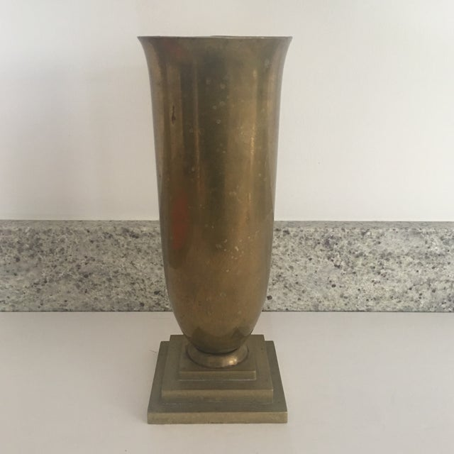 Vintage Art Deco Style Fluted Brass Vase For Sale - Image 9 of 9