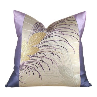 Leafy Purple Ombre Vintage Japanese Silk Obi Pillow Cover For Sale
