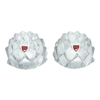 """Orrefors Crystal """"Nimbus"""" Candleholders - a Pair For Sale"""