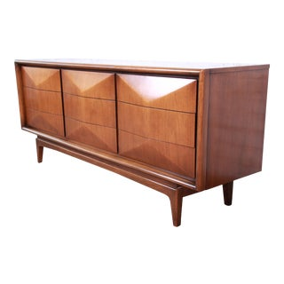 Mid-Century Modern Sculpted Walnut Diamond Front Long Dresser By United For Sale