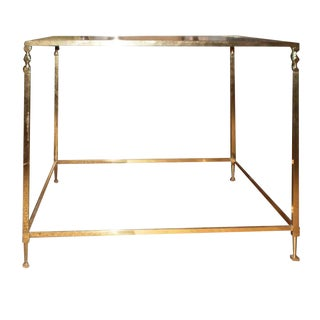 Vintage French Maison Jansen Inspired Brass Side Table For Sale