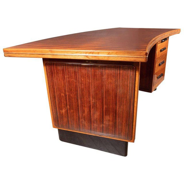 Art Deco Art Deco Machine Age Bow Front Bookmatched Rosewood, Walnut & Black Lacquer Desk For Sale - Image 3 of 11