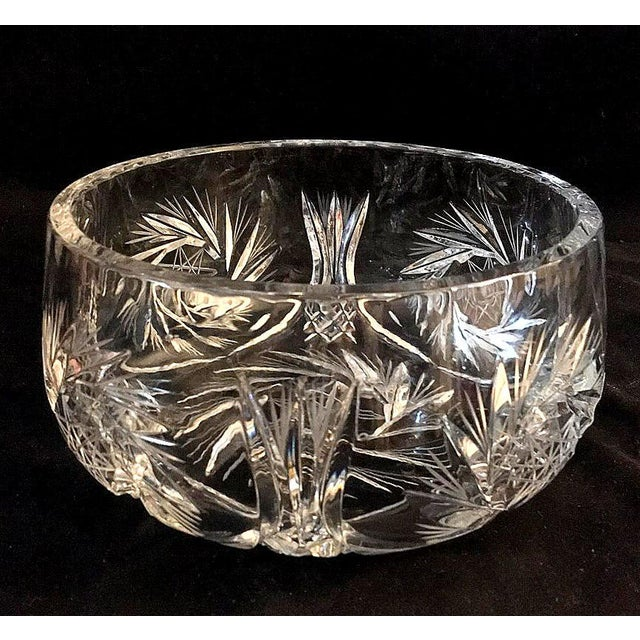 Traditional Lausitzer Pinwheel Star Pattern Crystal Bowl For Sale - Image 3 of 10