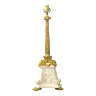 E. F. Caldwell Ormolu & Carved Marble Neoclassical Lamp, With Turtle Feet For Sale