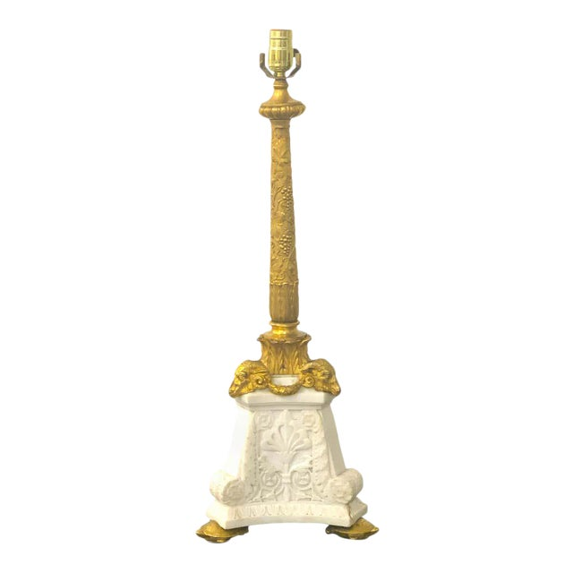 E F Caldwell Ormolu Amp Carved Marble Neoclassical Lamp