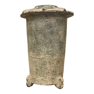 1940s Carved Footed Storage Jar For Sale