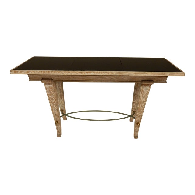 French Art Deco Cerused Oak Console For Sale