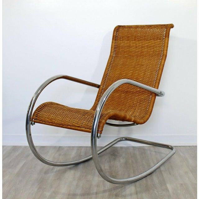 Mies Van der Rohe Mid Century Modern Italian Rattan Tubular Chrome Rocker Rocking Chair Italy 70s For Sale - Image 4 of 12