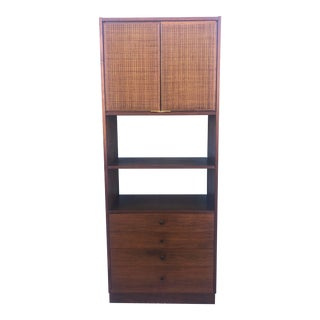Mid Century Modern Shelving Unit With Caned Doors and Four Drawers For Sale