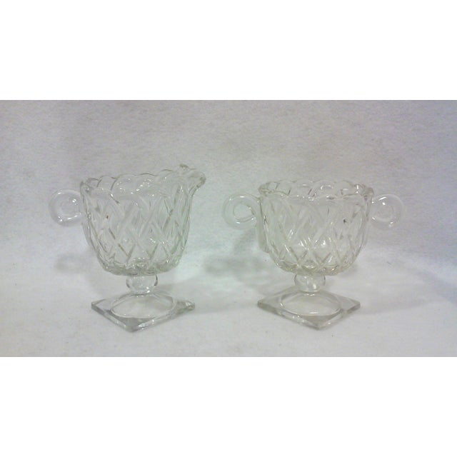 Deco Glass Footed Creamer & Sugar Bowls - A Pair - Image 4 of 4