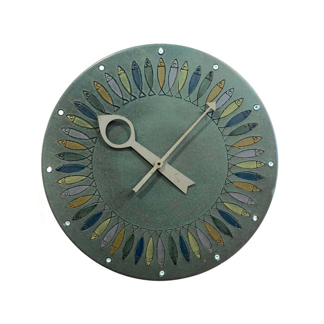 1960s Rare Bitossi Fish Meridian Clock, 1960's For Sale - Image 5 of 9