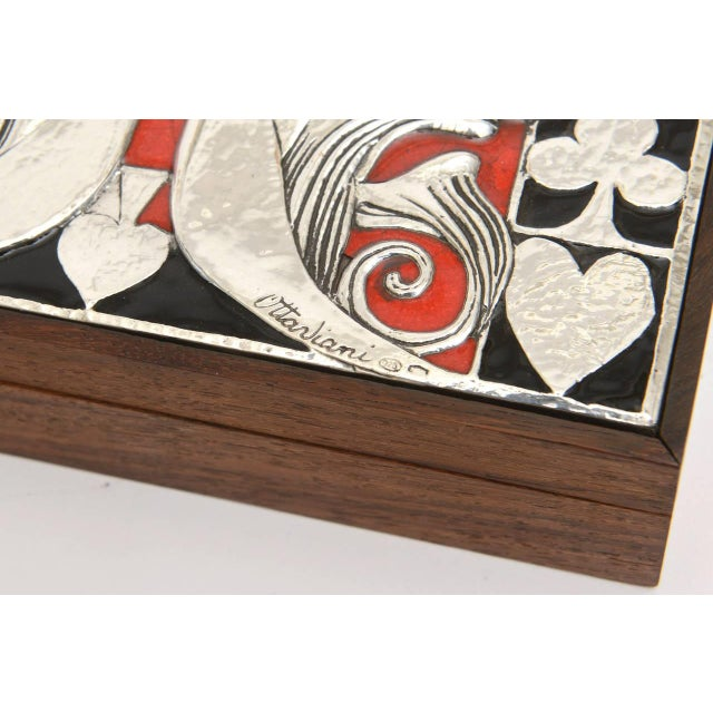 Italian Ottaviani Sterling Silver, Enamel and Wood Card Playing Box - Image 9 of 10