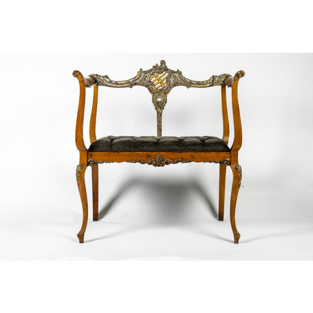 """Very interesting antique entry bench with carved details and tufted seat. Excellent condition. The seat measures 17"""" high..."""