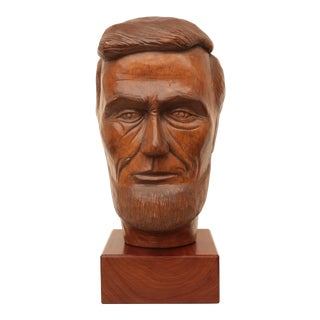 Abraham Lincoln Carved Wood Head Bust For Sale