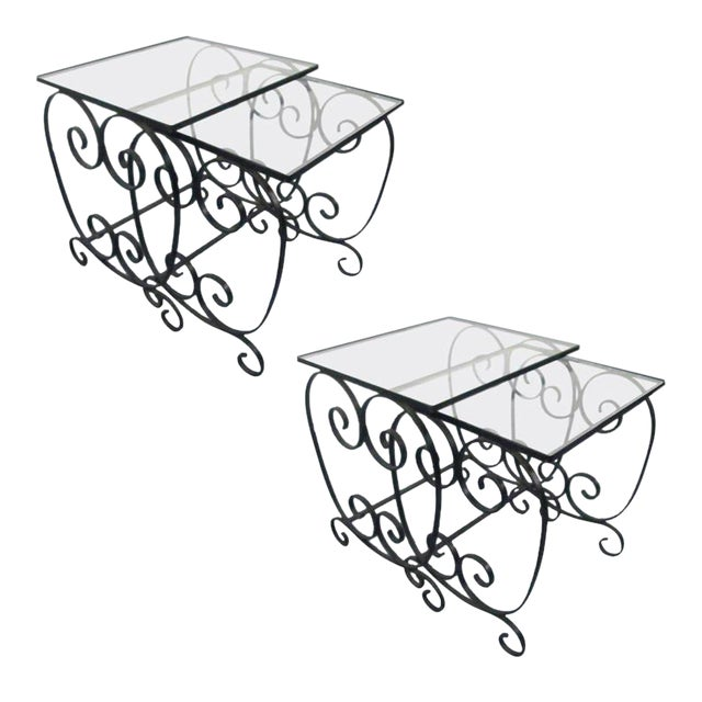 Two Pairs of French Wrought Iron Nest of Tables For Sale