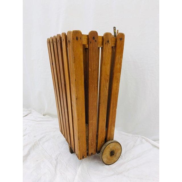 1930s Antique Wooden Slat Rolling Cart For Sale - Image 5 of 8