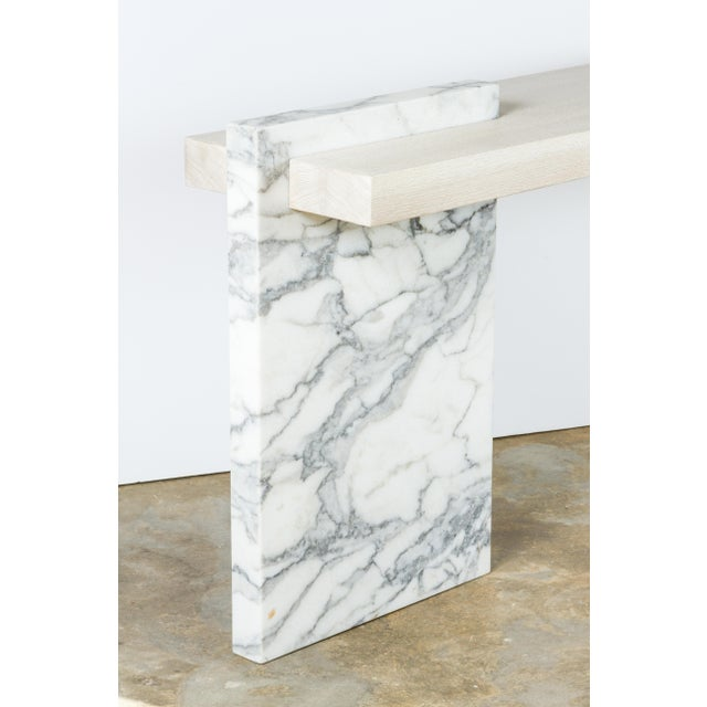 Paul Marra Marble and Bleached Oak Console For Sale In Los Angeles - Image 6 of 11