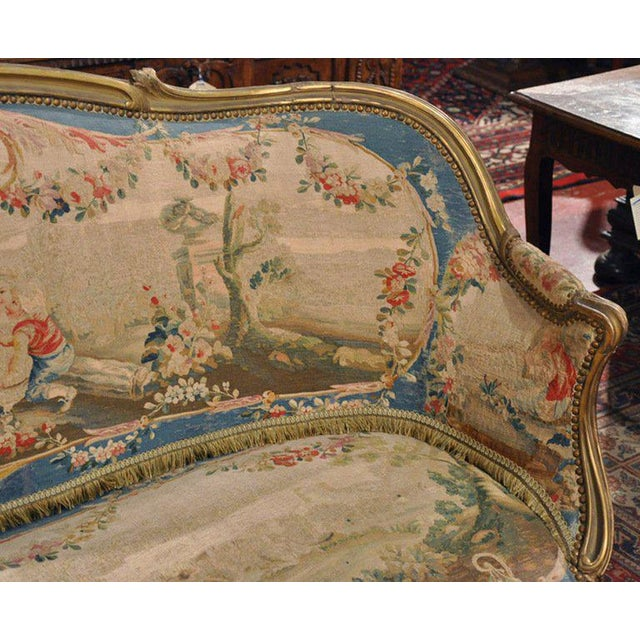 Louis XV Carved Gilt & Aubusson Tapestry Canapé - Image 6 of 10
