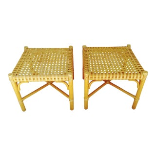 McGuire Rattan Bamboo Weaved X Footstools Ottomans - a Pair