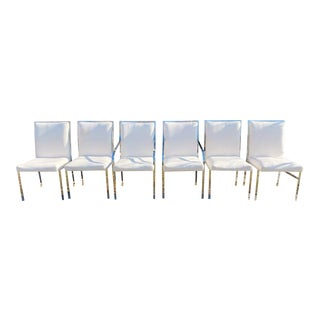 Chrome and White Dining Chairs by Pierre Cardin- Set of 6 For Sale