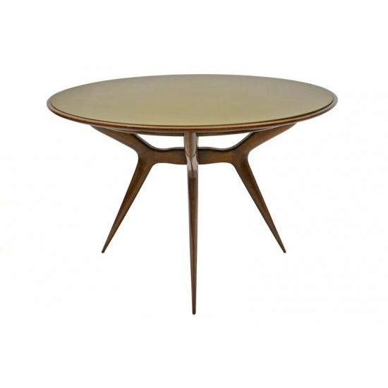 Gold Mid-Century Circular Wood Center Table With Reverse Painted Gold Glass Top For Sale - Image 8 of 8