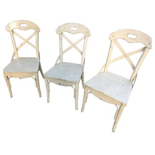 Distressed White Rustic Chairs - Set of 3