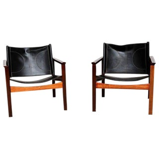 Pair of Leather & Rosewood Michel Arnoult Safari Armchairs For Sale