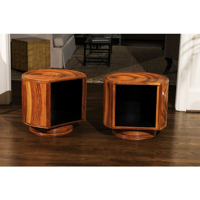 A Killer pair of restored vintage end tables or night stands, circa 1975. Exceptionally crafted Mahogany case construction...