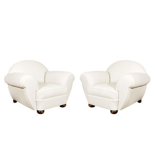 1930s Pair of Large Art Deco Club Armchairs, Ivory Leather, Belgium For Sale