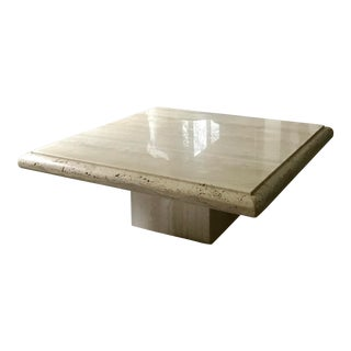 1970s Italian Square Travertine Coffee Table For Sale